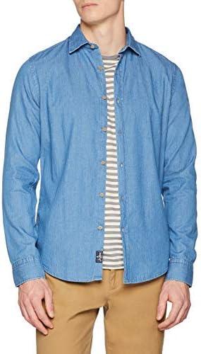 Scalpers Original Denim F. Shirt Camisa Casual, Azul (Indigo ...