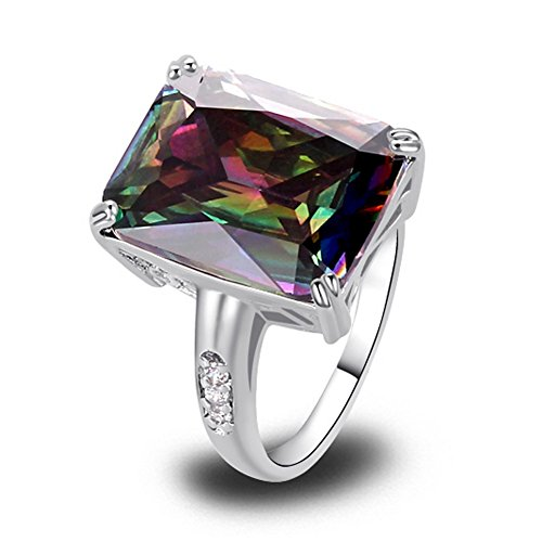 PSRINGS Uuisex Jewelry Created Emerald Cut Mysterious Rainbow Created Topaz White Created Topaz 925 Silver Ring - Mattress Reviews Banner