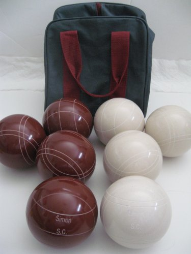 Premium Quality Engraved Bocce Package - 110mm Epco Red and White Balls with Engraving [Misc.] by Epco