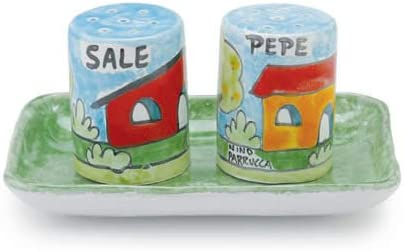Handmade Parrucca Salt and Pepper Set with Tray From Italy