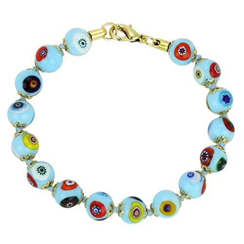 GlassOfVenice Murano Glass Mosaic Bracelet - Aqua (Aqua Murano Bracelets)
