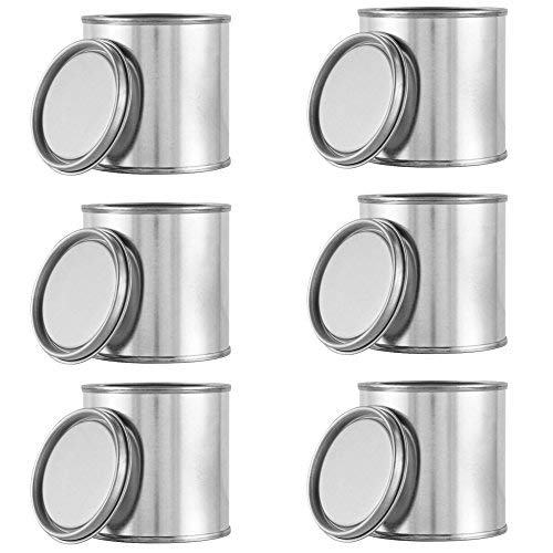 KALEMIRIS 6 pcs Metal Paint Cans with Lids 1/4 Pint Size Empty for Paint Mixture Storage Measuring