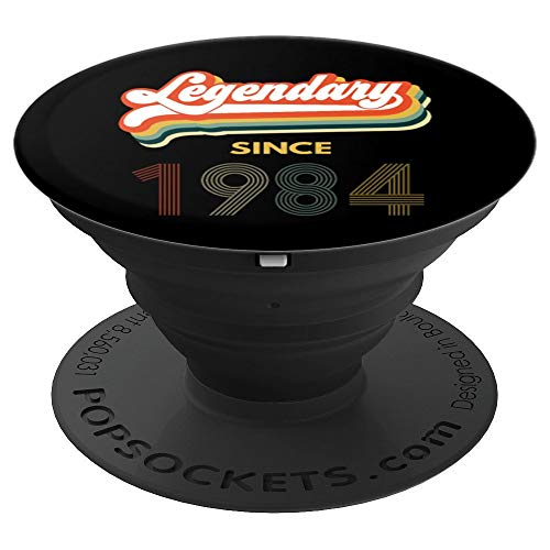 35th Birthday Legendary Since 1984 Vintage Retro Men Women  PopSockets Grip and Stand for Phones and Tablets -
