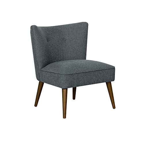 Spatial Order Kaufmann Mid Century Modern Armless Accent Chair with Button Tufting, Navy