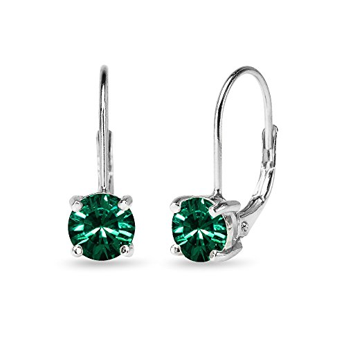 Sterling Silver Green Round-cut Leverback Earrings Made with Swarovski Crystals