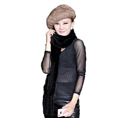 Women's Real Knitted Mink Fur Scarf Wrap Neck Warm Shawl Stole (Fur Story 050303) Black