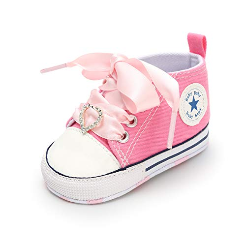 Baby Girls Boys Canvas Shoes Soft Sole Toddler First Walker Infant High-Top Ankle Sneakers Newborn Prewalker Crib Shoes(D-Pink,13cm(12-18 Months)