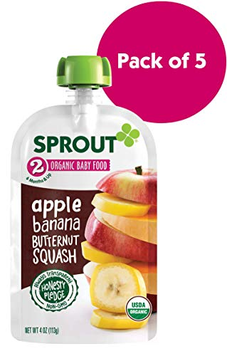 Sprout Organic Stage 2 Baby Food Pouches, Apple Banana Butternut Squash, 4 Ounce (Pack of 5)