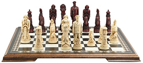 Nautical Themed Chess Set - 5.25 Inches - In Presentation Box - Handmade in UK - Ivory and Burgundy -