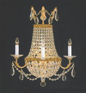 Wall Sconce Crystal Chandelier - Crystal Trimmed Chandelier! Empire Crystal Wall Sconce Lighting W18