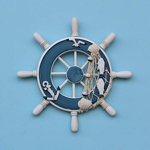 (SMANTA 9.1 Inch Antique and White Decorative Wheel Wall Decoration Nautical Decoration Nautical Ship Steering Wheel Home Wall Decoration with Shell Fishing Net (Blue Stick Fish))