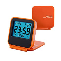 Digital Modern Travel Alarm Clock for Women-Small Desk Battery Clock Bedside Alarm Snooze Daylight Portable Clock-Orange