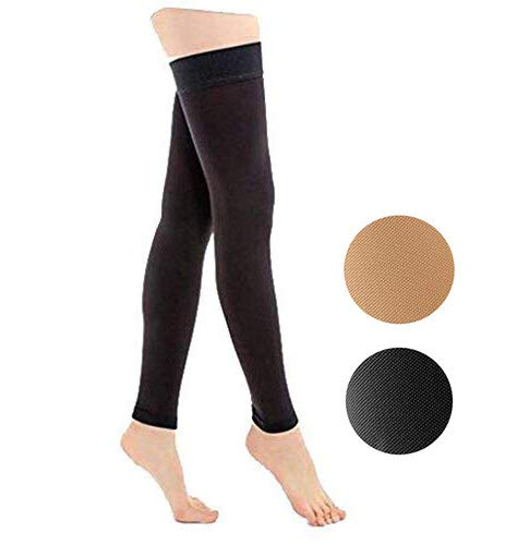 TOFLY Thigh High Compression Stockings Opaque, Firm Support 15-20 mmHg Gradient Compression with Silicone Band, Footless Compression Sleeves, Treatment Swelling, Varicose Veins, Edema, Black L