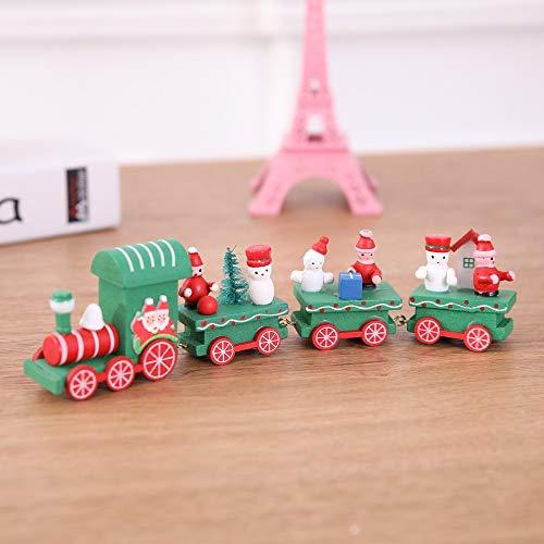 SUJING 4 Pieces/Set Wood Christmas Xmas Train Decoration Decor Gift,Xmas Train Kids Toys Gift, Christmas Party Kindergarten Decoration (B) for $<!--$5.06-->