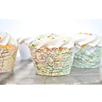 36 Vintage World Map Scalloped Cupcake Wrappers. NOT a baking cup.