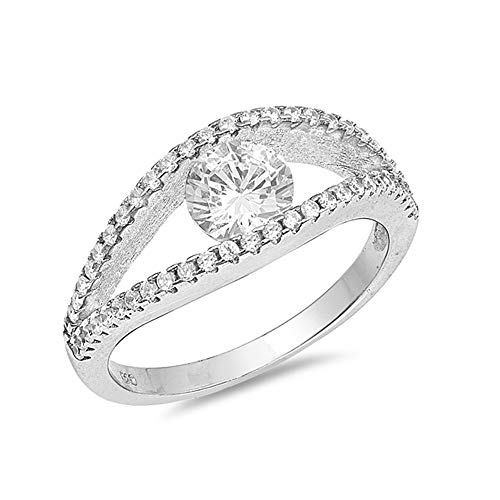 (Precious Gem Jewellers .925 Sterling Silver Tension Set Cubic Zirconia Open Shank Ring)