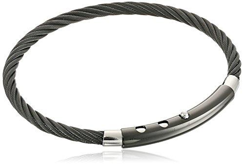 Men's Black-Tone Stainless Steel Adjustable-Cable Bracelet