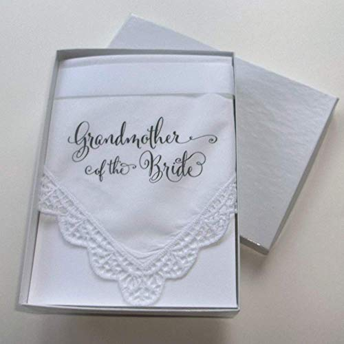 Grandmother of the Bride Wedding Handkerchief with Printed Calligraphy Script and Lace