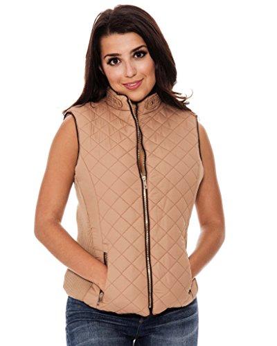 Vest Quilted Zip Ladies Full (True Rock Jr Women's Carol Quilted Full Zip Vest-Tan/Brown-XL)