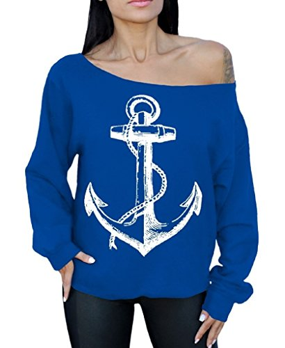 Awkwardstyles Anchor White Off The Shoulder Oversized Sweatshirt Marine Sailor M Blue ()