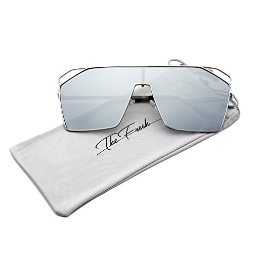 The Fresh Color Mirror Single Lens Metal Wraparound Shield Sunglasses with Gift Box (Silver, (Contact Lenses Halloween No Prescription)