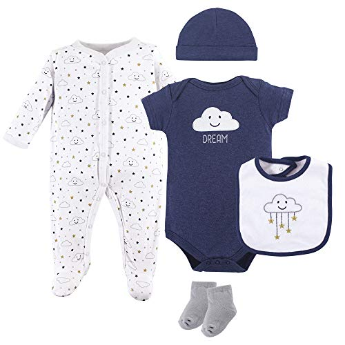 Layette Baby Unisex (Hudson Baby Baby Multi Piece Clothing Set, Navy Clouds 5, 0-3 Months (3M))