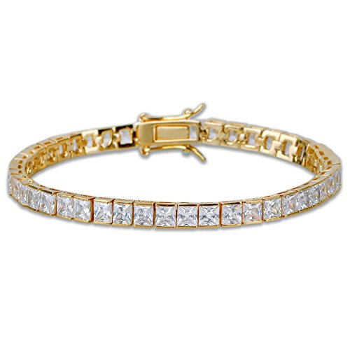 "JINAO 1 Row AAA All Iced Out Tennis Bling 4-6mm Square Cut Lab Simulated Diamond Bracelet 8"" (6mm Gold)"