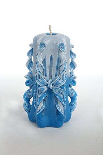 Handmade Wedding Favors Big Blue Carved Candles - Get unique