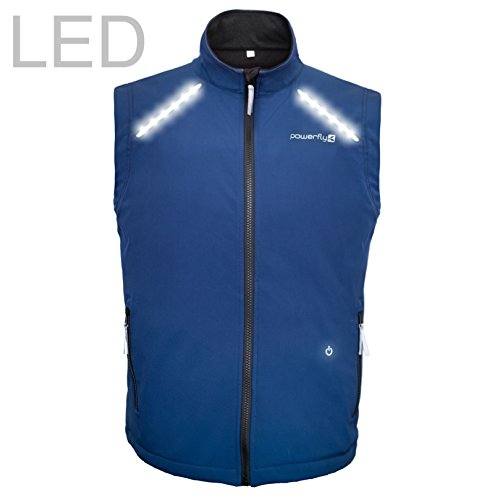 PowerFly Casual Cycling Vest - High Visibility Reflective Running Gilet with LED Lights - Windproof Lightweight Bike Runner Hi Vis Safety Gear USB Rechargeable 3 Flashing Modes Men's Women's Size - Windproof Vest Mens