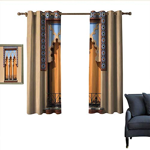 """longbuyer Arabian Decor Curtains Old Windows in Arabian Style at Cordoba Spain Background Balconies City Home Garden Bedroom Outdoor Indoor Wall Decorations 55"""" Wx40 L Sand Brown Pale Blue from longbuyer"""