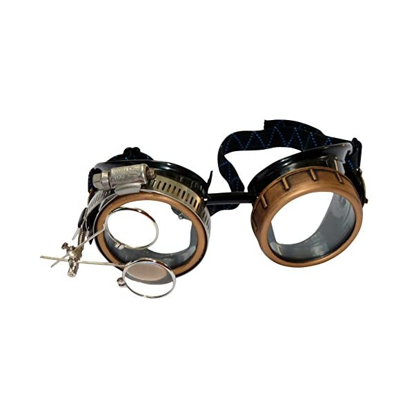 Steampunk Victorian Style Goggles with Compass Design & Ocular Loupe, Rave Glasses 4
