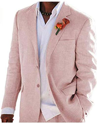Pink Summer Beach Wedding Suits 2 Pieces Men Suits Groom Tuxedos 2 Buttons Pink 42 Chest / 36 Waist