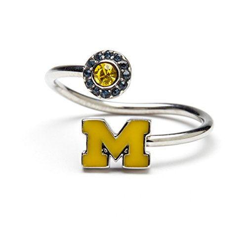 - University of Michigan Ring | UM Maize Block M with Crystals | Officially Licensed University of Michigan Jewelry | UM Jewelry | Michigan Wolverines | UM Ring | Stainless Steel