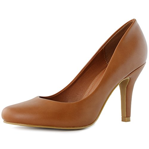 DailyShoes Women's Classic Fashion Round Toe Lily-01 High Heel Dress Pump Shoes, Tan PU, 7.5 B(M) US (Tan Women Pump)