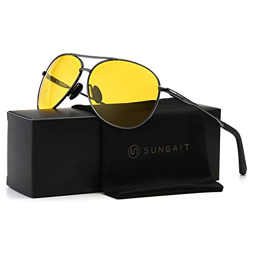 SUNGAIT HD Night Vision Driving Anti-Glare Classic Aviator Polarized Sunglasses (Gunmetal Frame/Night Lens)0971QKYS