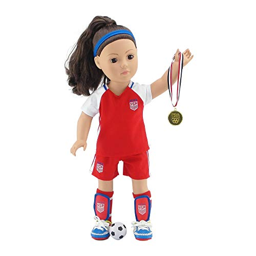 (18 Inch Doll Clothes | Team USA 8 Piece Value Pack Doll Soccer Uniform, Including Shirt, Shorts, Socks, Ball, Shin Guards, Headband, Soccer Shoes/Cleats and Realistic Gold Medal! | Fits American Girl)