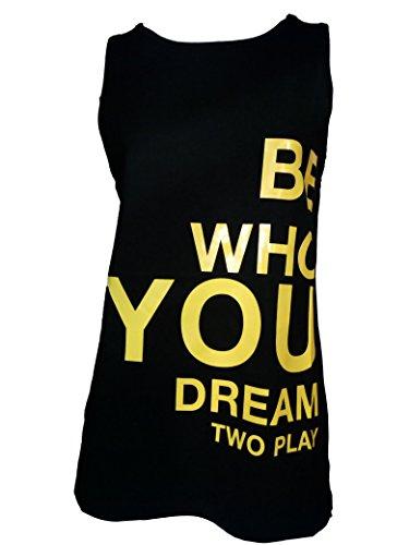 Two Play Canotta Donna Maglietta T-Shirt Girocollo in Cotone Nero TG M