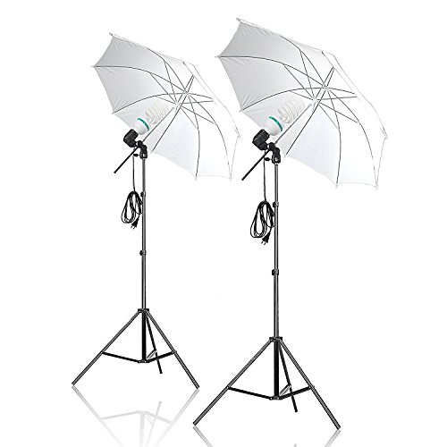 Selens 1200W Continuous photo Umbrella Lighting Kit for Portrait Photography, Studio and Video Shooting, Translucent White, pack of 2 by Selens