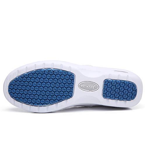0542e214230ce ZYEN Women's Comfortable Nursing Shoes All White Leather Nurses Slip ...