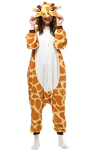 Decahome Unisex Adult Giraffe Pyjamas Halloween Costume One Piece Animal Cosplay Onesie Small Height from 150CM-160CM -