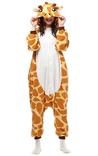 Decahome Unisex Adult Giraffe Pyjamas Halloween Costume One Piece Animal Cosplay Onesie Large Height from 168CM-177CM (66