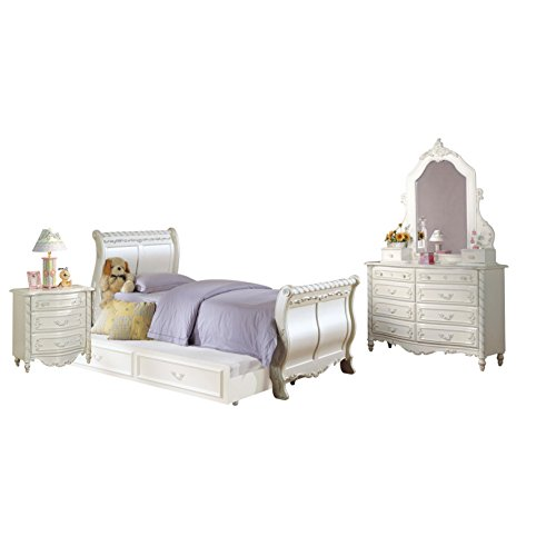 Acme Furniture Pearl 4-Piece Sleigh Bedroom Set in Pearl White Full (Sleigh Pearl)