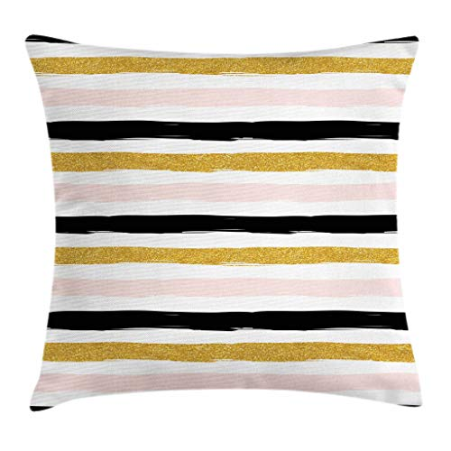 """Ambesonne Abstract Throw Pillow Cushion Cover, Horizontal Stripes in Paintbrush Style Modern Illustration, Decorative Square Accent Pillow Case, 16"""" X 16"""", Yellow Black"""