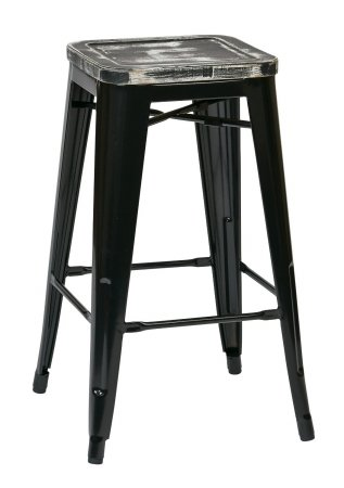 [Avenue 6 Office Star BRW31263A2-C306 Bristow 26 in. Antique Metal Barstool with Vintage Wood Seat, Black Finish Frame & Ash Yellow Stone Finish Seat, 2 Pack] (Bar Stool 6 Finishes)
