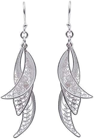 NOVICA .925 Sterling Silver Filigree Dangle Earrings 'Windswept'