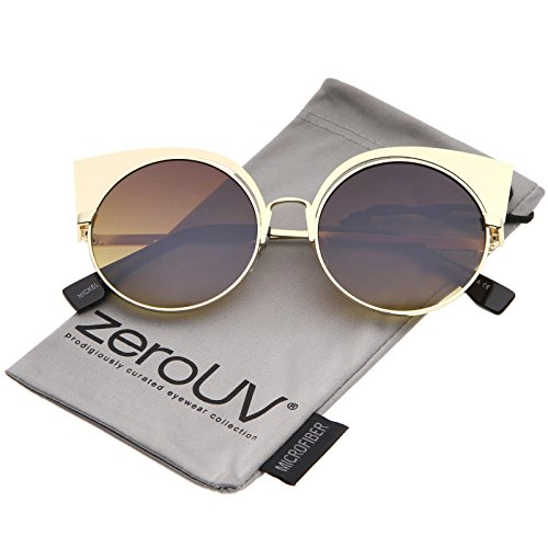 Women's Metal Frame Cutout Round Cat Eye Sunglasses 54mm (Gold/Amber) ()