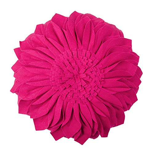 JWH Handmade 3D Flowers Accent Pillow Round Sunflower Cushion Decorative Pillowcase with Pillow Insert Home Sofa Bed Living Room Decor Gift 12 Inch / 30 cm Wool Rose Red (Throw Pillows Magenta)