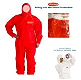 MICROSAFE LARGE RED BOILER SUITS Disposable Coveralls CAT 3 TYPE 5 & 6 - EC CERTIFIED 89/686/EEC by MICROSAFE PREMIER