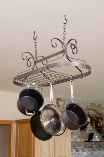 Enclume Decor Oval, Ceiling Pot Rack, Hammered Steel by Enclume
