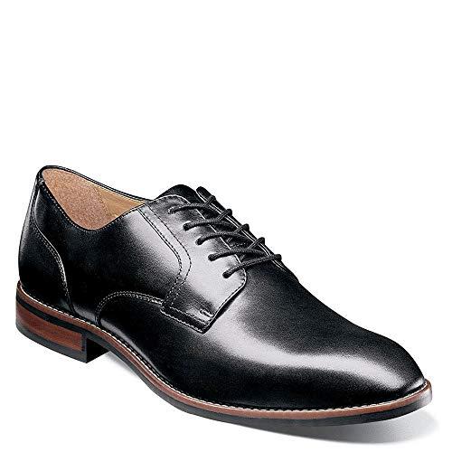 Nunn Bush Men Fifth Ave Plain Toe Oxford Dress Casual Lace Up, Black, 10.5